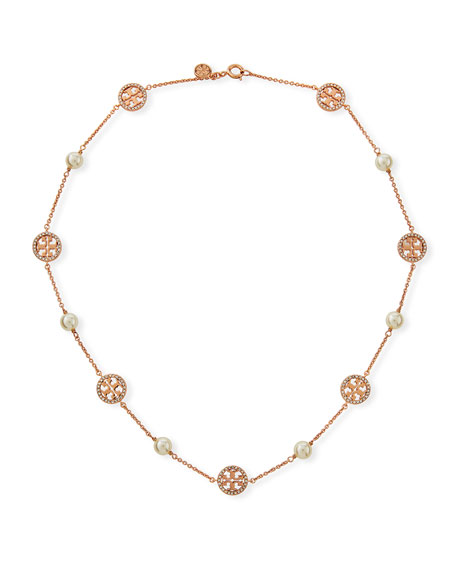 Tory Burch Crystal Logo & Pearly Necklace by Tory Burch