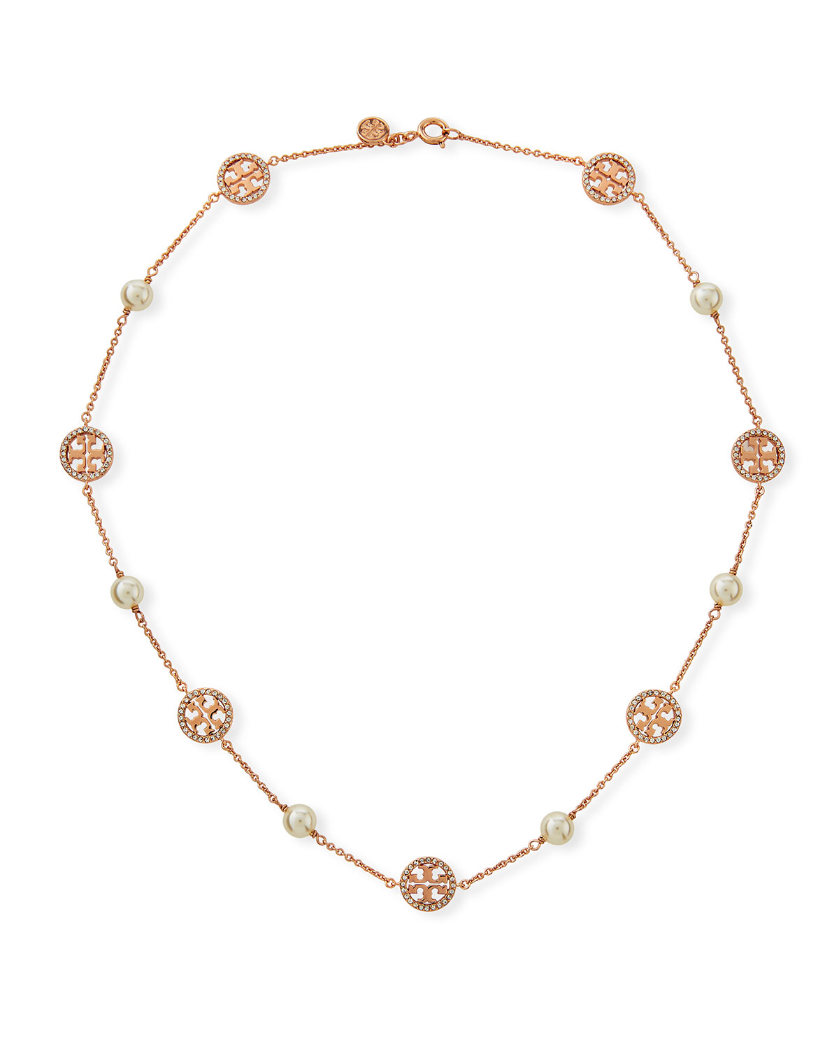 e99ce7ec29d160 Tory Burch Crystal Logo & Pearly Necklace | Neiman Marcus