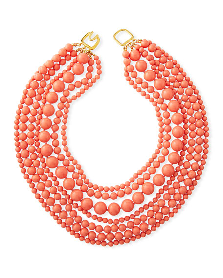 Kenneth Jay Lane 7-Strand Beaded Necklace, Coral