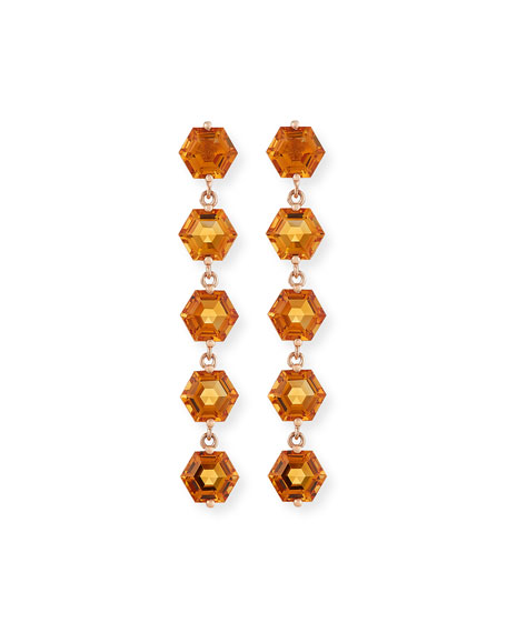 Image 1 of 2: KALAN by Suzanne Kalan Bloom 14k Rose Gold 5 Hexagon Drop Earrings, Light Orange