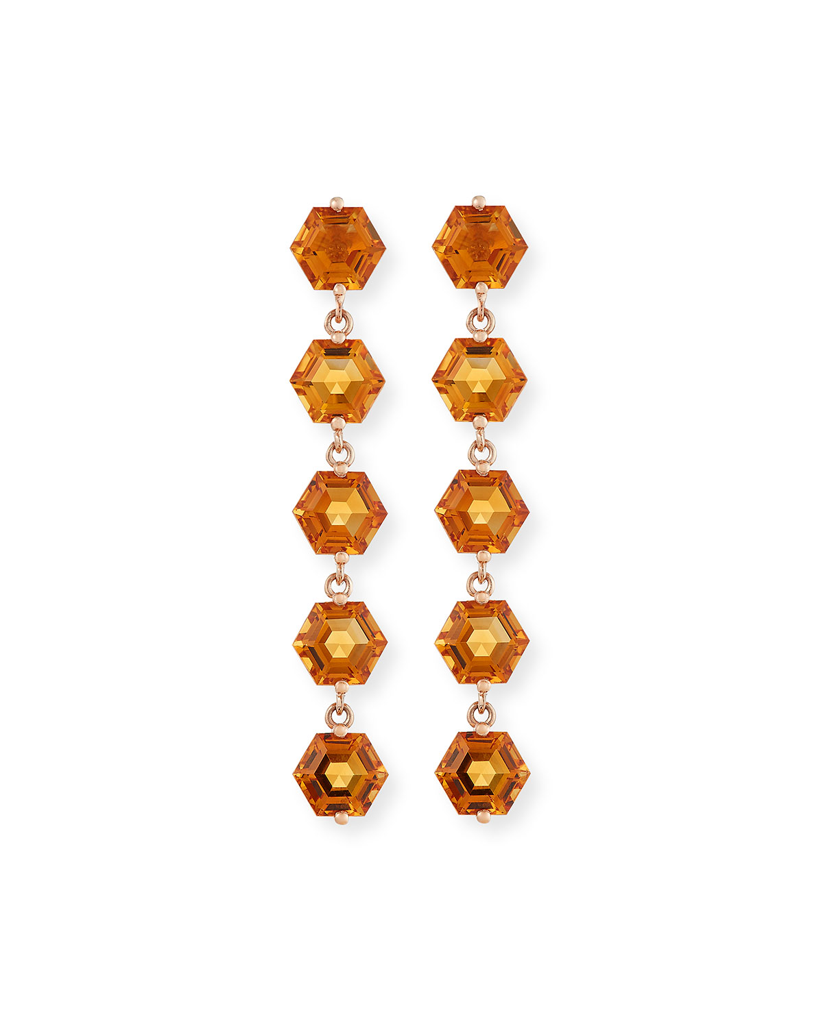 KALAN by Suzanne Kalan Bloom 14k Rose Gold 5 Hexagon Drop Earrings, Light Orange