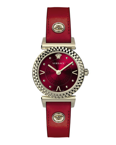 Mini Vanity Watch w/ Leather Strap  Gold/Red