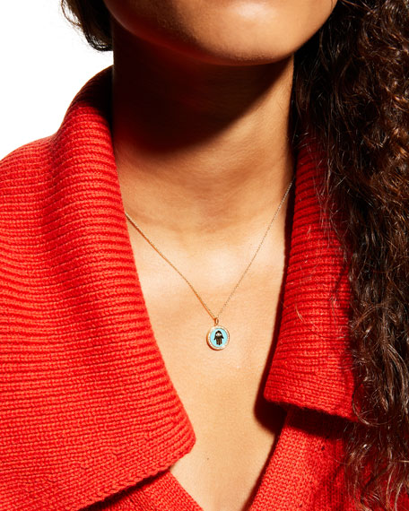 Sydney Evan 14k Hamsa Enamel Medallion Necklace w/ Diamond Pave