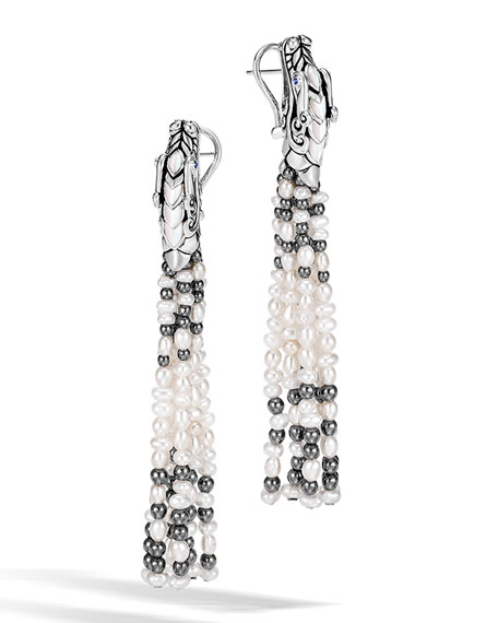 John Hardy Legends Naga Pearl Tassel Earrings