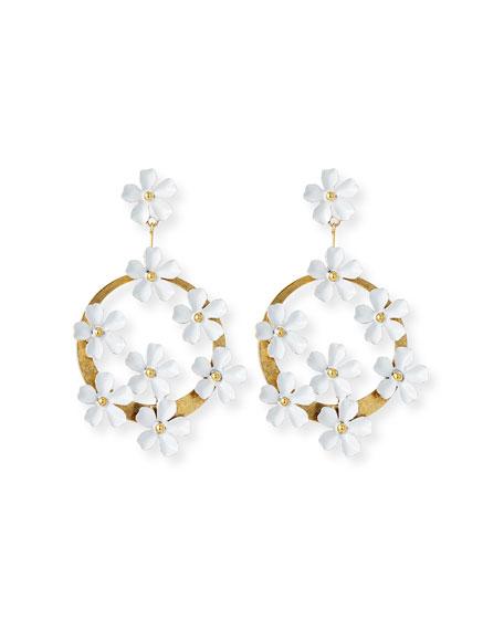 Jennifer Behr Marguerite Floral Hoop-Drop Earrings