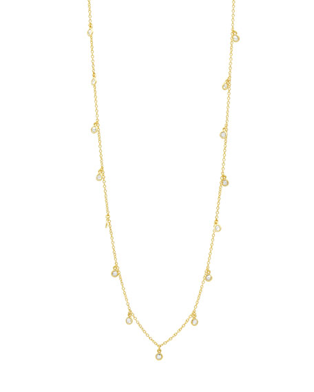 "Freida Rothman Signature Bezel Droplet Necklace, 40""L"