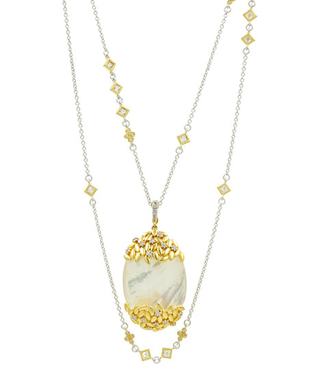 Freida Rothman Fleur Bloom Mother-of-Pearl Oval Statement Pendant Necklace