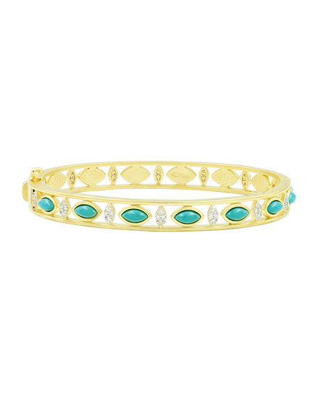 Freida Rothman Fleur Bloom Empire Turquoise Wide Hinge Bangle