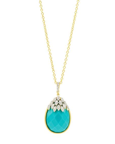 Freida Rothman Fleur Bloom Empire Turquoise Teardrop Pendant Necklace