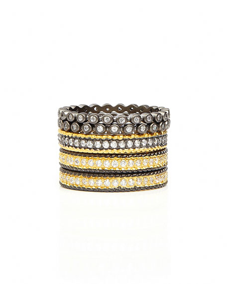 Freida Rothman Signature Scattered Two-Tone Stack Rings, Set of 5