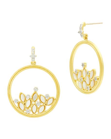 Freida Rothman Fleur Bloom Mother-of-Pearl Cluster Hoop Earrings