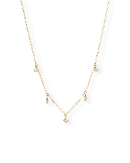 Zoe Chicco 14k Mixed-Cut 5-Diamond Dangle Necklace