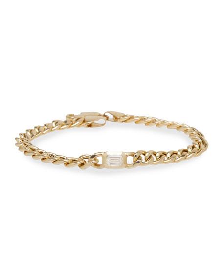 "Zoe Chicco 14k Emerald-Cut Diamond Chain Bracelet, 6.5"""