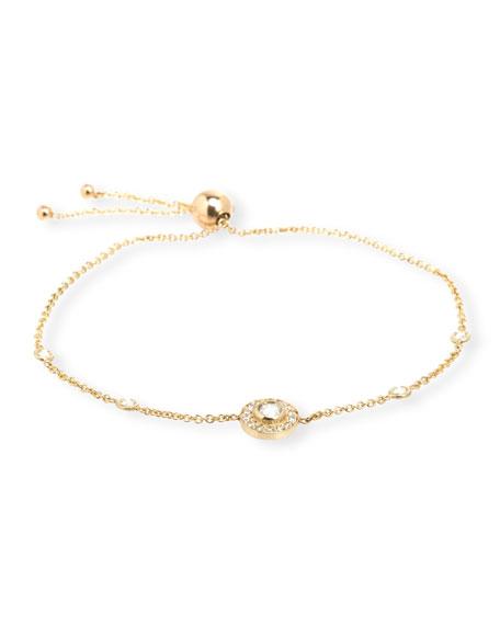 Zoe Chicco 14k Diamond Bezel & Halo Adjustable Bracelet
