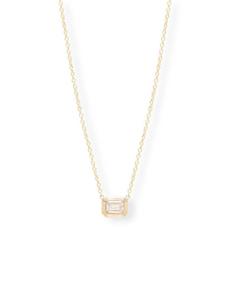 Zoe Chicco 14k Gold Emerald-Cut Diamond Necklace