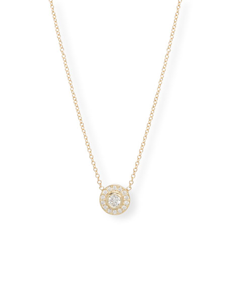 Zoe Chicco 14k Diamond Bezel & Halo Pendant Necklace