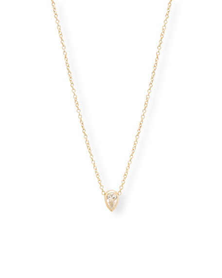 Zoe Chicco 14k Gold Diamond-Pear Necklace