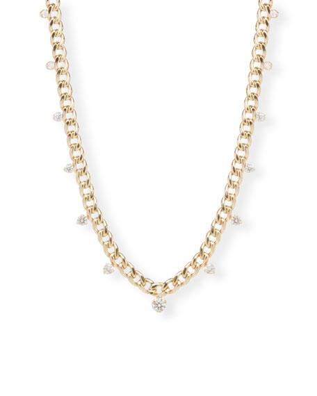 Zoe Chicco 14k Medium Curb Chain Necklace w/ Diamonds