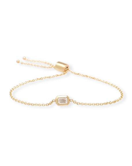 Zoe Chicco 14k Emerald-Cut Diamond Adjustable Bolo Bracelet