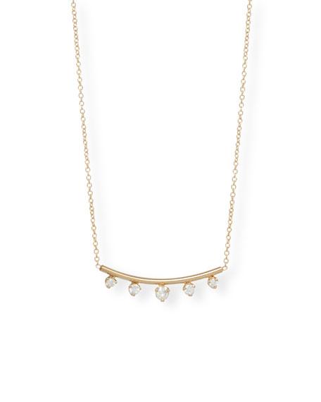 Zoe Chicco 14k Diamond Curved-Bar Necklace