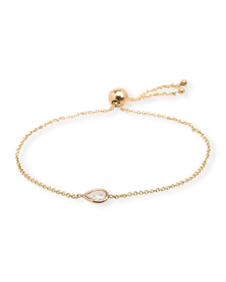 Zoe Chicco 14k Diamond Teardrop Bolo Bracelet