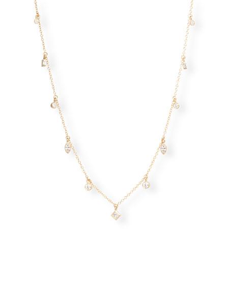Zoe Chicco 14k Mixed-Cut Diamond Dangle Necklace