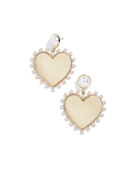 BaubleBar Amalia Pearly Heart Drop Earrings