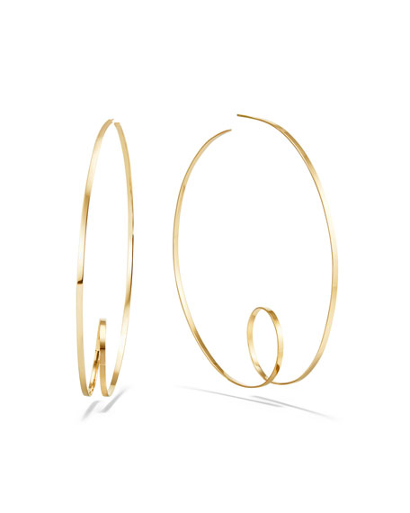 LANA 14k Curly-Shaped Hoop Earrings, 80mm