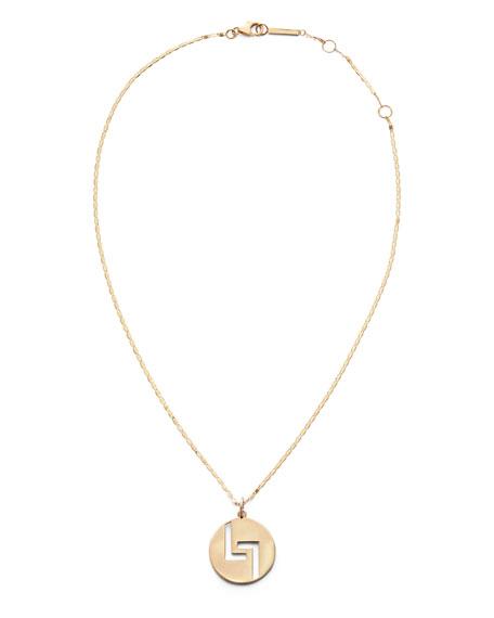 LANA 14k Gold 20mm Logo Pendant Necklace