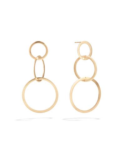 Small 14k Gold Flat 3-Hoop Earrings