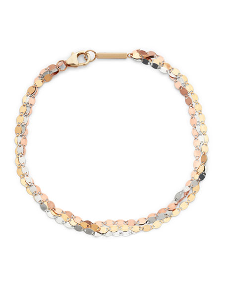 LANA Nude Tricolor 14k Gold 3-Strand Bracelet