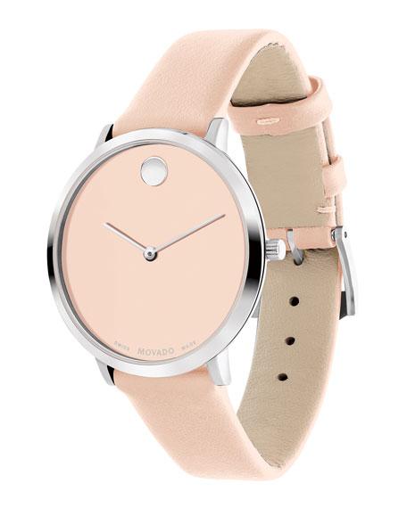 Movado Ultra Slim Leather Watch, Light Pink