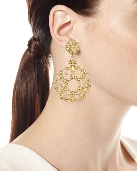 Jose & Maria Barrera Scroll & Crystal Clip-On Earrings