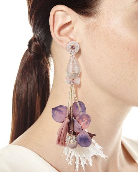 Ranjana Khan Conch Shell & Feather Earrings