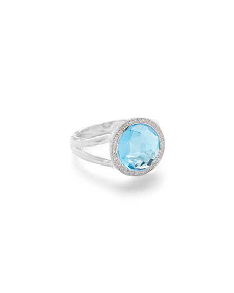 Ippolita Mini Lollipop Ring in Swiss Blue Topaz w/ Diamonds,