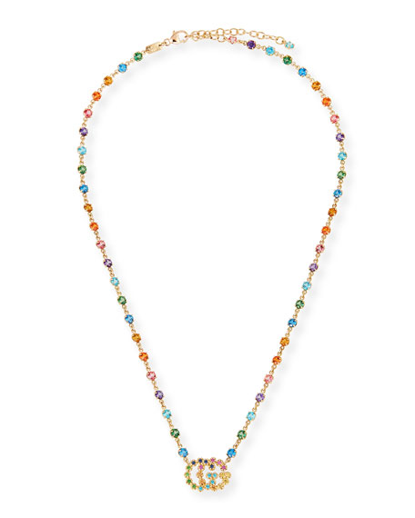 47cc3e45a Gucci 18K Yellow Gold Gg Running Mixed Gemstone Necklace, 14.5 ...