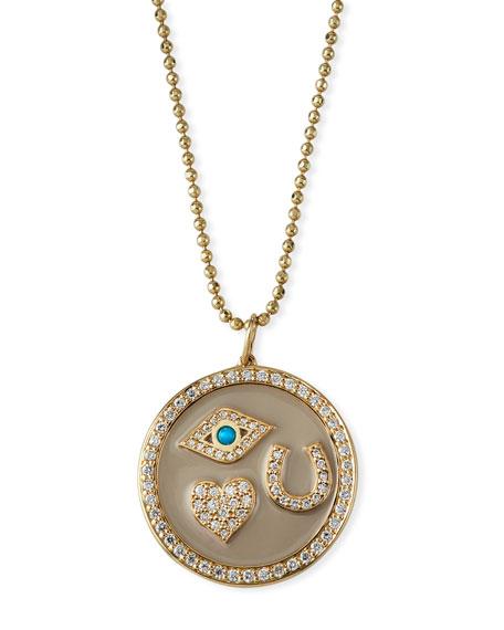 Sydney Evan Accessories 14K PROTECTION TABLEAU DIAMOND MEDALLION NECKLACE