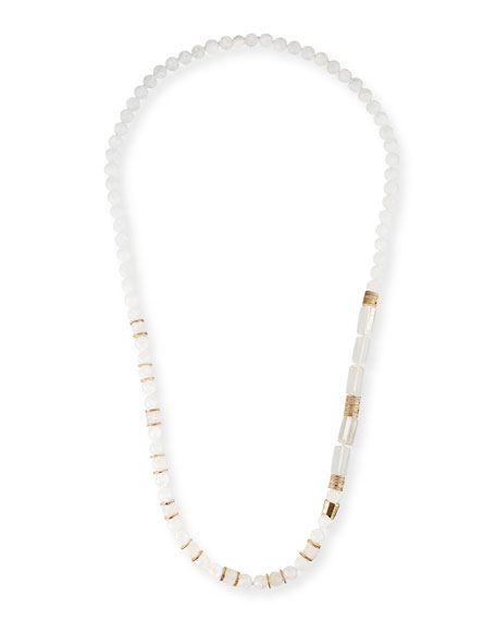 "Akola Long Gemstone & Golden Bead Necklace, 40""L"