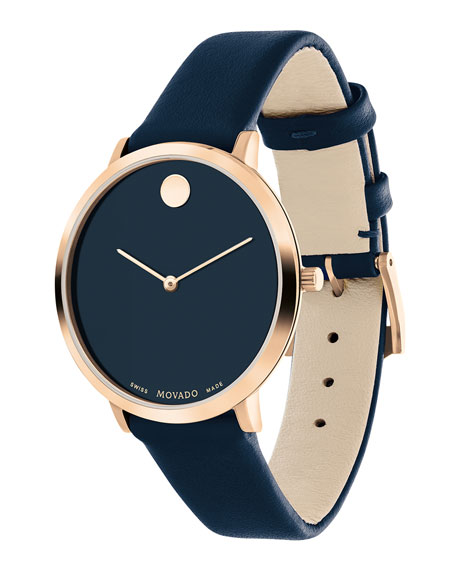 Movado Ultra Slim Leather Watch, Navy/Carnation