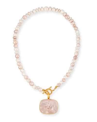 Blush Italian Glass & Sapphire Necklace