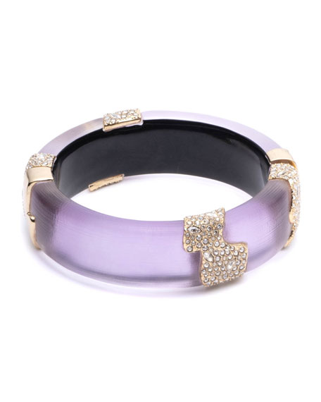 Alexis Bittar CRYSTAL ENCRUSTED SECTIONED HINGE BRACELET, PURPLE