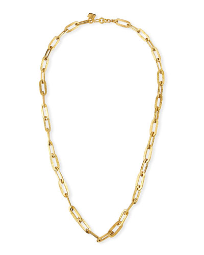 Flat Hammered Large Link Necklace