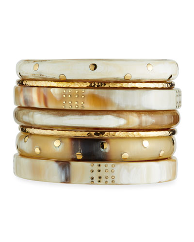 Shahada Horn & Bronze Bangles  Set of 7