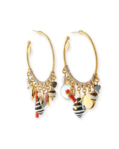 Anastasia Hoop-Dangle Earrings w/ Pearls