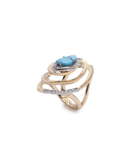 Alexis Bittar Spiral Cocktail Ring, Size 7