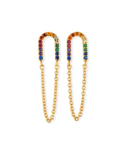 Rainbow Earrings w/ Chain Dangles