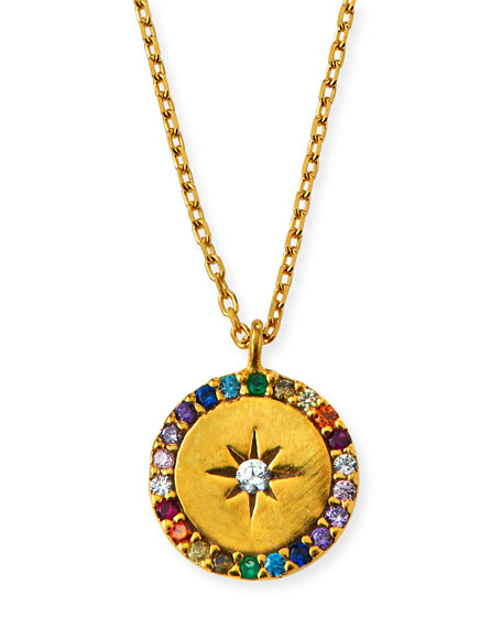 Tai Accessories STAR & CRYSTAL ROUND PENDANT NECKLACE
