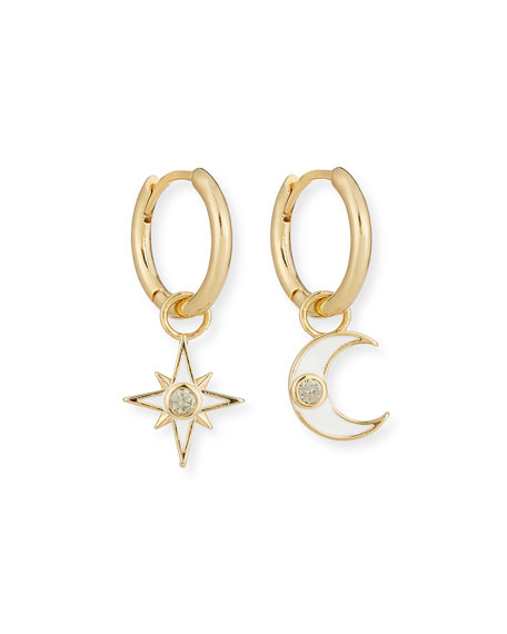 Tai Accessories STAR & MOON DANGLE HOOP EARRINGS