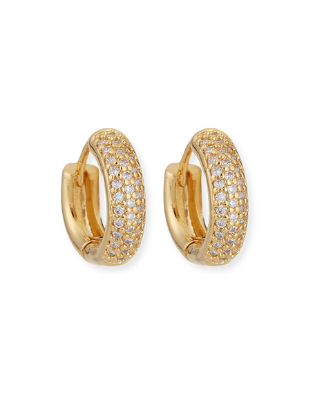 Tai Accessories CRYSTAL PAVE HUGGIE HOOP EARRINGS