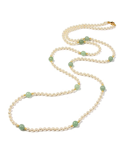 Hippie Jade Bead & Pearly Long Necklace
